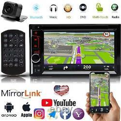 2DIN Car Stereo Radio DVD Player Bluetooth Mirror GPS+ Camera For Chevrolet GMC