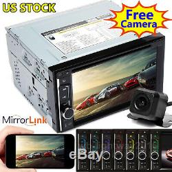 2 Din Touch Screen Car Stereo BT Radio FM AM USB AUX Media Player Mirror For GPS