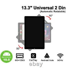 6+128GB13.3 Inch Double Din Universal Car Stereo With Automatic Rotatable Screen