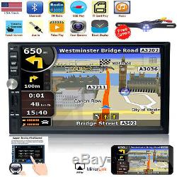 7Double 2DIN Car Stereo Radio Multimedia Player Bluetooth GPS Navigation+Camera
