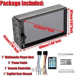 7 2 DIN Car MP5 Player Bluetooth Touch Screen Stereo Radio HD Audio+Rear Camera