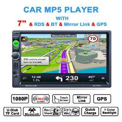 7 Double 2 Din Car MP5 Unit GPS Navigation FM RDS Radio BTMP3 Charger