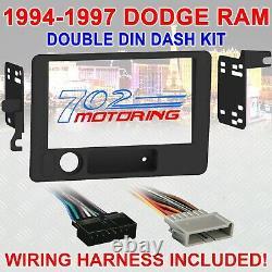 94-97 Dodge Ram Double Din Car Radio Stereo Installation Dash Kit & Wire Harness