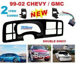 99-02 Gm Car Stereo Radio CD DVD Nav Double 2 Din Dash Installation Kit Bezel