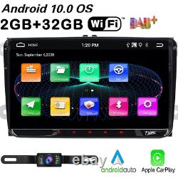 9 Android10 Double Din Car Stereo Carplay GPS 32GB ROM TV For Golf Seat T5 EOS