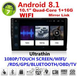 Android 8.1 Double 2Din 10.1 HD Quad-Core Car Stereo Radio GPS Wifi Mirror Link