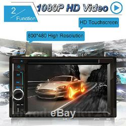 Car Stereo Radio DVD CD Player Touch Screen BT 2DIN Mirror For GPS + Free Camera