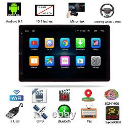 Double 2DIN 10.1'' Rotatable Android 9.1 Touch Quad Car Stereo Radio GPS Wifi FM