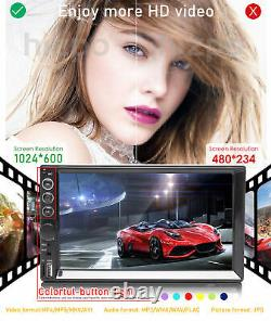 Double 2 Din Car Stereo 7+ Backup Camera Touch Screen Radio Mirror Link For GPS