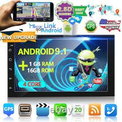 Double Android 9.1 Car Stereo Radio GPS Bluetooth 7'' Touch MP5 Player USB 2Din