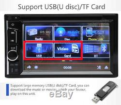 Double Dual Din Radio Car Stereo DVD Touchscreen In Dash Bluetooth 6.2 + Camera
