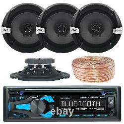 Dual XDM280BT 1DIN Car Bluetooth Receiver, 4x JVC 6.5 Speakers with 50ft Wire