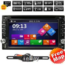 GPS Navigation HD Double 2 DIN Car Stereo DVD Player BT 1080P Radio MP3 In Dash