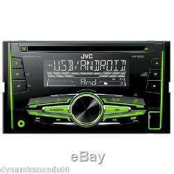 JVC KW-R520 CD MP3 Double Din Car Stereo USB Tuner Front Aux In Android Ready