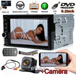 Sony Lens Camera Double Din Car Stereo Radio DVD Bluetooth TV USB Mirror For GPS