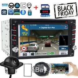 Use Sony Lens GPS Double 2Din Car Stereo Radio CD DVD Player Bluetooth with Map