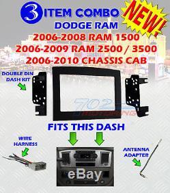 06 07 08 09 10 Dodge Ram Kit De Tableau De Bord Pour Installation Stéréo Pour Autoradio Double Din
