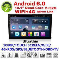 10.1hd Android 6.0 Double 2din Quad-core 2 + Wifi 32g Voiture Gps Radio Stéréo Lecteur