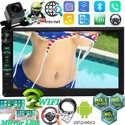2 Din Stereo Car Radio Bluetooth Android Gps Wifi Fits Chevy Malibu Tahoe+camera