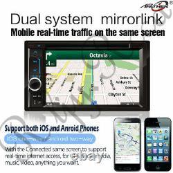 6.2 2 DVD DVD Lecteur CD DVD Double Stereo Radio Bluetooth Miroir Link Hewunit