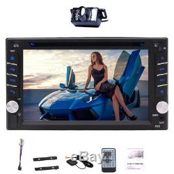6.2 Double Écran Tactile 2 Din Gps Autoradio DVD Caméra Radio Lecteur Bluetooth +