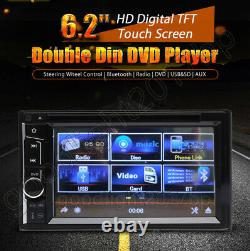 6.2 Voiture Stereo Bluetooth Radio Double 2din Lecteur Dvd+camera Mirrorlink Pour Gps