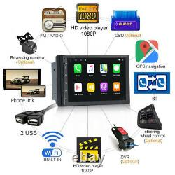7 Android 10 1+16 Double 2din Voiture Stereo Radio Gps Wifi Obd2 Mirror Link Player