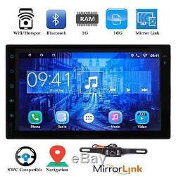 7 'double Radio 2d De Lien De Miroir De Gps De Wifi 4g De La Voiture 2din Android 6.0 Bluetooth Aucun DVD
