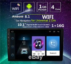 Android 8.1 Double 2din 10.1 Hd Quad-core Car Stereo Radio Gps Wifi Miroir Lien