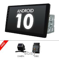 Cam + Obd + 10,1 Car Gps Android 10 Stereo Radio 2 Double Din Lecteur Universel Wifi