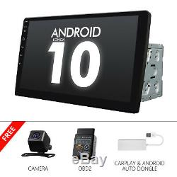 Cam + Obd + Carplay + 10,1 Gps Auto Android 10 Stereo Radio Double 2din Universal Dsp