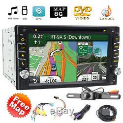 Caméra De Recul Gps Double 2din Car Stereo Radio CD Lecteur DVD Bluetooth Avec Carte +