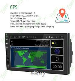 Car Stereo 7 Smart Android 8.0 Wifi Double 2din Lecteur Radio Gps + Caméra De Recul