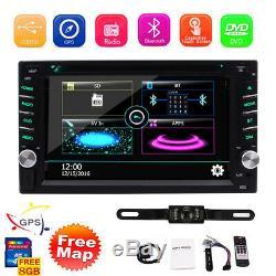 Carte + Caméra + Gps Nav 6.2 Double 2din Car Stereo Radio DVD CD Lecteur Mp3 Bluetooth