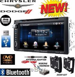 Chrysler Jeep Dodge Stéréo DVD Bluetooth Double Din Power Acoustik + Kit / Harnais