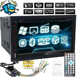 Double 2 Din Voiture Stereo Tv Lecteur CD DVD Radio Bluetooth Swc Unité Caméra De Sauvegarde