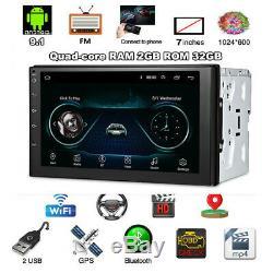 Double 2din Android 9.1 7 1080p Écran Tactile 2 Go + 32 Go Car Stereo Radio Gps Navi