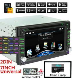 Double 2din Hd Gps Autoradio DVD Lecteur CD Blueteeth Dash Radio Avec 8g Carte Gratuites