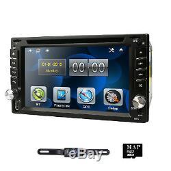 Double 2din Lecteur DVD De Voiture De Navigation Gps Dual Zone Radio Ipod Bt Mp3 Usb + Caméra