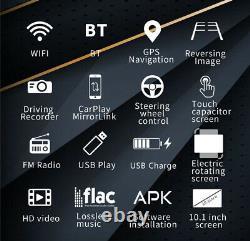 Double 2din Rotatif 10.1'' Android 10.1 Écran Tactile Voiture Stéréo Radio Gps Wifi