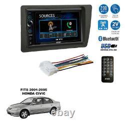 Double Din 6.8 Usb Bluetooth Am/fm Car Stereo Radio Kit Pour 2001-05 Honda CIVIC