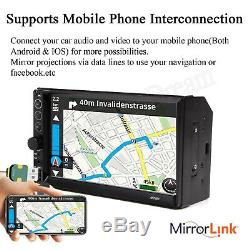 Double Din Car Radio Mp5 Stéréo 7 Miroirs Pour Appareil Photo Android Ios Navigation Gps +
