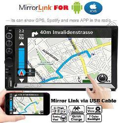Double Din Car Stereo Avec Caméra De Secours Écran Tactile Radio Mirror Link Pour Gps