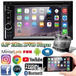 Double Double Din Radio Autoradio DVD Écran Tactile Bluetooth 6.2 En Dash + Caméra