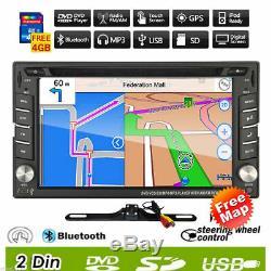 Double Lecteur DVD De Voiture Stéréo 2din Navigation Gps Bluetooth Ipod + Caméra De Sauvegarde