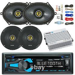 Dual 1din Bluetooth Voiture Stéréo, 400w Amp Et Kit, Kicker 6x8 Et 6.5 Haut-parleurs