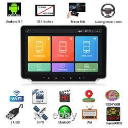 Écran Tactile 10.1in Double Din Voiture Radio Stereo Vidéo Lecteur Mp5 Android 9.1 Gps