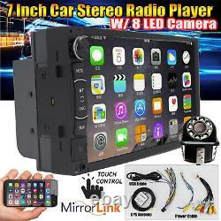 Écran Tactile Double Din Car Stereo Radio Gps Wifi Lecteur Usb Fm Avec 8 Led Caméra
