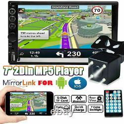 Écran Tactile Stéréo De Voiture 2 Din 7 Fm Bluetooth Radio Audio Mp5 Player+rear Camera