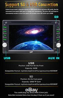 Lecteur DVD Stéréo Double Voiture 6.2in navigation Gps Bluetooth + Caméra De Sauvegarde + Carte